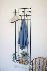 Metal Wall Coat Rack With Storage Basket Shoes Hats Jackets Clothes Garment Rack