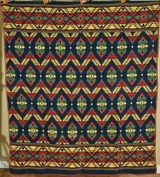 Colorful Vintage Beacon Mills Camp Blanket Great Colors And Indian Design