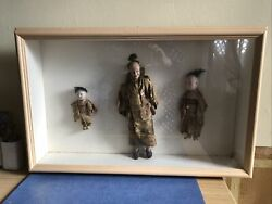 Vintage American Diorama With Collection Of Antique Japanese Dolls