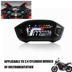 Real Time Led Speedometer Lcd Digital Odometer Guage Kit For Cylinder Motorcycle