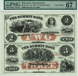 Wisconsin Uncut Sheet. 2and3 Summit Bank. 1859. Pmg 67 Superb Gem Uncirculated.