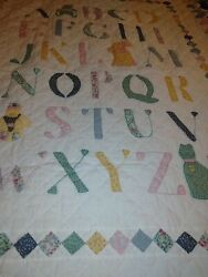 Antique Alphabet Crib Quilt Vintage Appliques Bear And Cat With Small Blocks