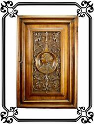 Vintage French Antique Gothic Hand Carved Wood Cupboard Door 19th