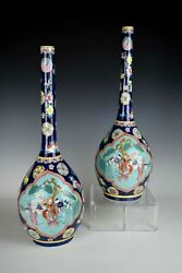 A Pair Of Tall Antique Chinese Pottery Vases Marked With Kangxi Period Mark