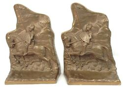 Vintage Brass Metal Armored Knight On Horse Lance Bookends Pair