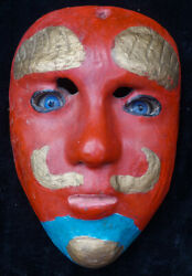 Vintage Antique Hand Carved Moor Dance Mask From Alta Verapaz, Guatemala