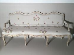 French Antique Louis Xv Sofa Reupholstered In Susie Watson Lovebirds Fabric
