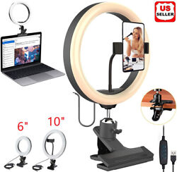 Led Ring Light Dimmable Lighting W/ Clip Clamp On Desktop Bed Table Monitor Pc