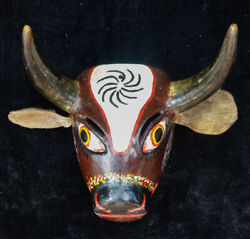 Antique Hand Carved Bull Torito Traditional Wooden Dance Mask From Guatemala