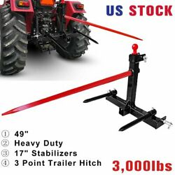 49 Hay Bale Spear 1 Tractor 3 Point Trailer Hitch Receiver W/ Gooseneck Ball Us