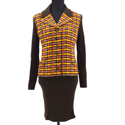 95a 38 Cc Button Long Sleeve One Piece Dress Tweed Brown Yellow 36798