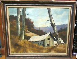 Charles Clinton Pitcher Autumn Barn Original Oil On Board Landscape Painting