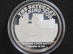 1988 Norman Rockwell Redhead Loves Hatty 2 Troy Oz. Silver Round D8211