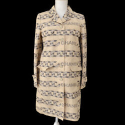 Vintage Cc Button Long Sleeve Jacket Beige Gray 01a 36 Y03714h