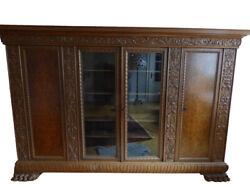 Antique Display Cabinet Made Of Solid Wood With Floral Styling