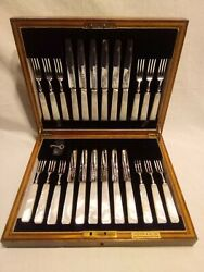 Antique Sterling Silver Fish Fork And Knife Set - 12 Settings By Crichton And Co.