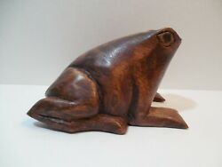 Large Old Hand Carved Wooden Frog Figurine 3 Tall 4 7/8 Long 3 3/8 Wide