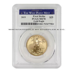 2019 25 Gold Eagle Pcgs Ms70 First Strike 1/2oz American Coin West Point Label