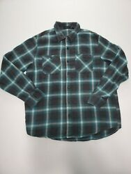 Vans Off the Wall Blue Flannel Shirt Button Front Mens Size Small