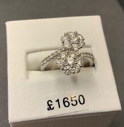 Double Daisy Cluster Diamond Ring 18ct White Gold
