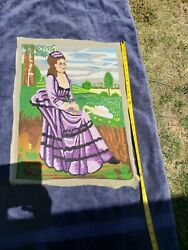Vintage Embroidery Needlepoint Tapestries Antique Art Deco Europe Purple Lady