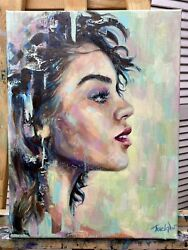 Abstract Portrait Woman Original Oil Painting Face Art African American Artwork