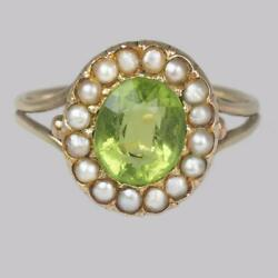 Victorian Peridot And Natural Pearl Cluster Ring 18ct Gold Antique Ring Circa 1860