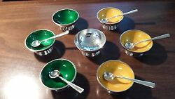 Mexico Vintage Enameled Sterling Silver Set Of Bowls And Spoons By Codan