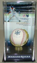 Autographed New York Yankees Mariano Rivera Signed 602 Saves Baseball In Display