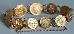 Rare 1849-1874 Gold Dollar 10 Coin Love Token 7 Bracelet 18.55g + 14k Token