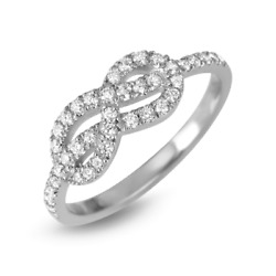 18k Solid White Gold Infinity Round Cut Diamond Ring Band