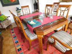 Dining Room Set Large Pine Wood Table With 8 Striped Chairs
