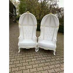 French Throne Balloon Chairs In White Leather- A Pair
