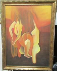 Nude Party Abstract Original Oil On Canvas Painting Unsigned