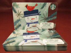 Lot Of 15 Starbucks 2017 Wadja Do In My Coffee Snowman Gift Cards New With Tags