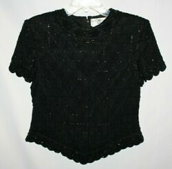 Vintage Papell Boutique Evening Women#x27;s Top Black Petite Small 100% Silk Beaded $18.39