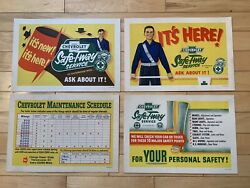 Nos Vintage 1950's Chevrolet Sign Lot Of 4 Counter Signs Service Display Rare