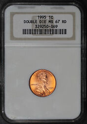 1995 Double Die Lincoln Memorial Cent Ngc Ms-67 Rd