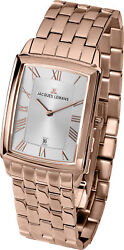 Jacques Lemans Menand039s 1-1611j Bienne 30mm Silver/rose Gold Dial Ss Watch
