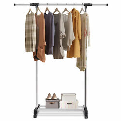 Portable Rolling Garment Rack Closet Organizer Shelf Clothes Hanger Adjustable
