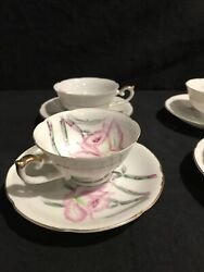 Japanese Tea Cup And Saucer Bamboo Floral Lefton Hand Painted In Occupied Japan