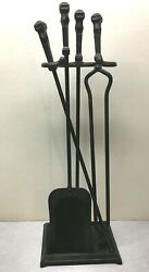 HOWES OF BOSTON VINTAGE IRON FIREPLACE TOOL SET WOOD STOVE FIREPLACE TOOLS