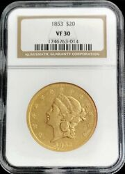 1853 Gold United States 20 Liberty Double Eagle Type 1 Coin Ngc Very Fine 30