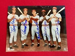 Big Red Machine Autographed Mlb 5-reds 11x14 Photo Scarce / Vintage Rose