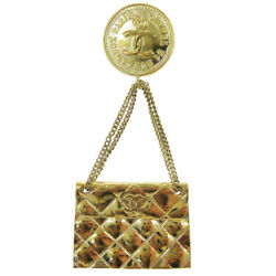 Cc Quilted Bag Motif Brooch Pin Gold-tone Corsage 28 Accessories 00583