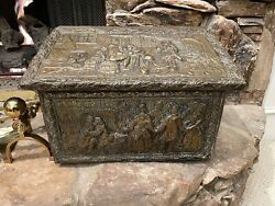 Antique Victorian Embossed Brass Kindling Log Magazine Box Fireplace Scuttle