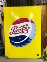 Large Original Vintage Pepsi Cola Sign Porcelain Gas Oil Store Old Soda Pop Rare