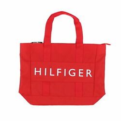 Tommy Hilfiger Tote Shoulder Canvas Shopper Bag Graphic Logo Zip Top Red New Nwt $29.49