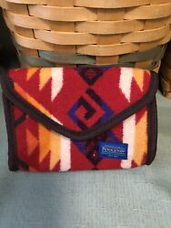 New Pendleton Wool Small Cosmetic Toiletries Travel Case Pouch RED Multicolor $24.99