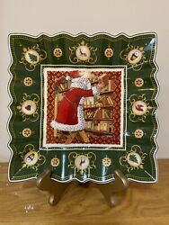 Rare Villeroy And Boch Green Square Bowl Toyand039s Fantasy Santaand039s Library